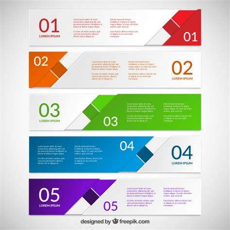 Abstract Colorful Banners For Infographic Vector Premium Download Powerpoint Template Size Illustrator