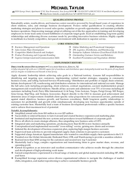business resume sles michael resume sales business development account