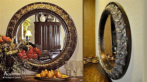 Tuscan Old World Style Mirrors Acanthus Round Beveled Mirror