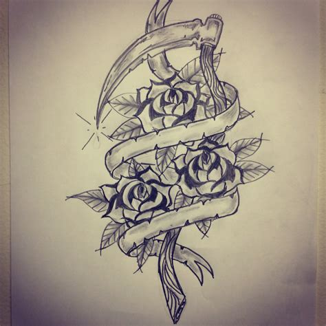 banner tattoo traditional sickle roses banner sketch by