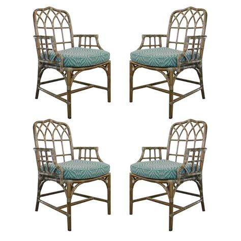 Mcguire Dining Chairs Set Of Four Rattan And Leather Mcguire Chairs At 1stdibs