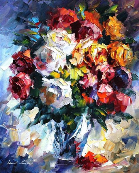 with paint roses palette knife painting on canvas by leonid