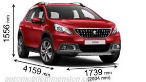 Peugeot 2008 Size Dimensions Of Peugeot Cars Showing Length Width And Height