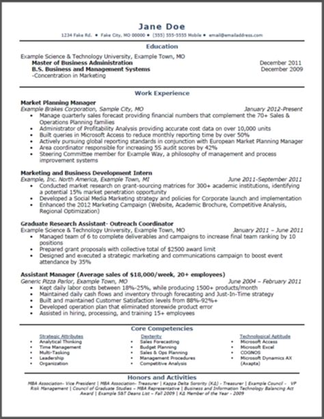 mba marketing resume format for experience mba resume sle jennywashere