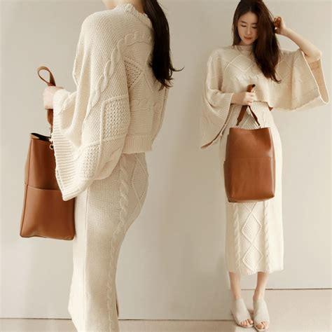 2 piece skirt set women twotwinstyle 2017 autumn winter batwing sleeve tops