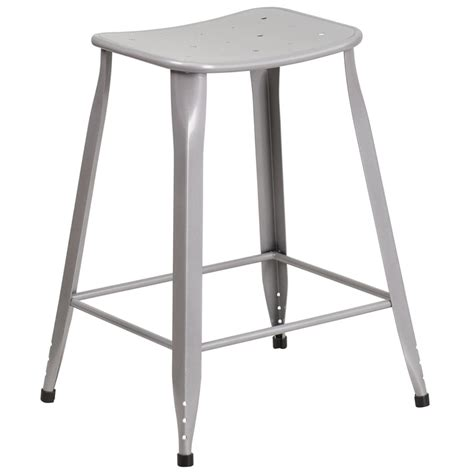 Outdoor Metal Counter Stools by Curve Seat Metal Indoor Outdoor Counter Height Stool Fl Et
