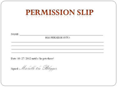 generic permission slip template 28 images permission