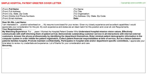 Greeter Cover Letters by Patient Advocate Cover Letters