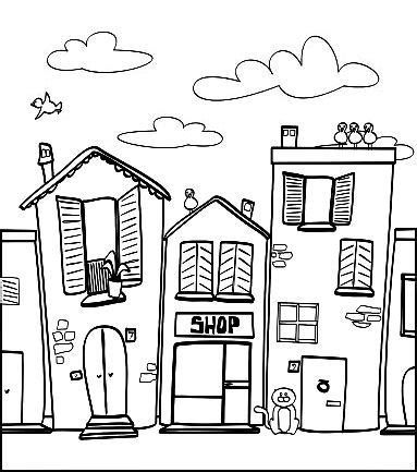community map coloring page 741 best images about adult colouring buildings houses