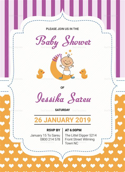 publisher templates for baby shower colorful baby shower invitation card design template in