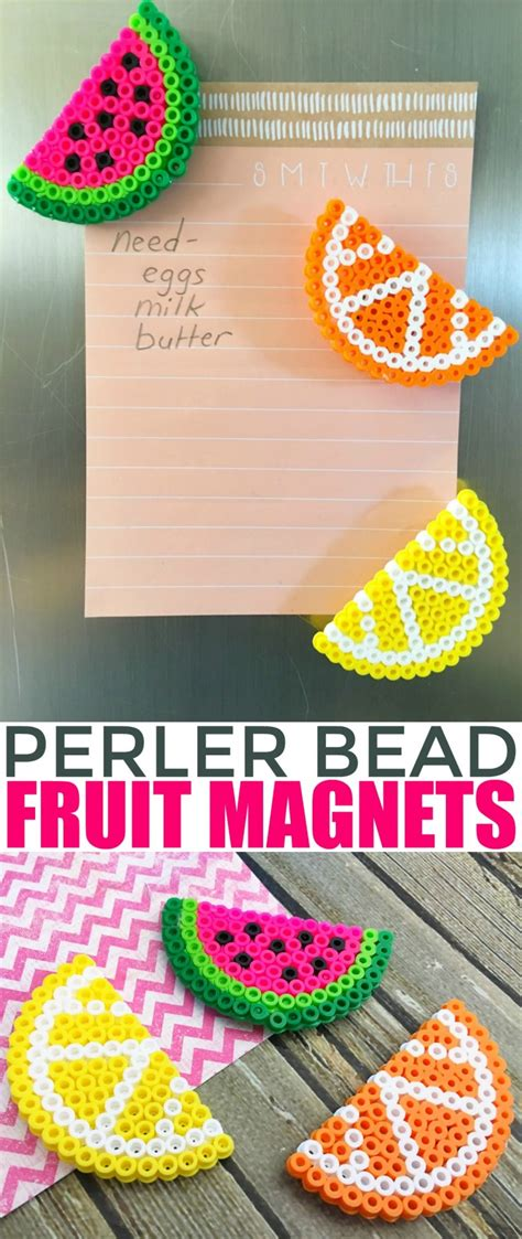 and easy crafts for to make fruit perler bead magnets frugal eh