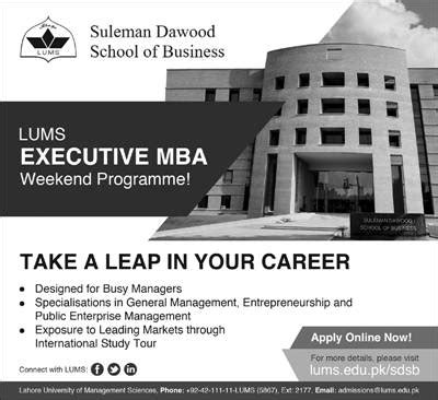 Weekend Mba Programs In Karachi by Admissions Open 2014 For Lums Executive Mba Weekend