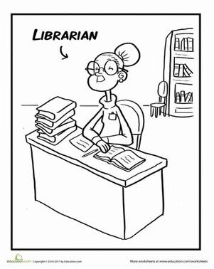 librarian coloring page educationcom
