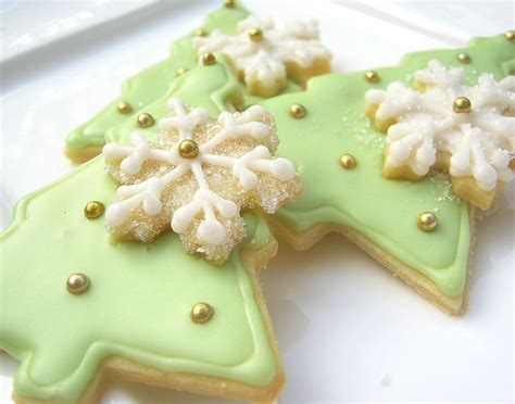 christmas tree sugar cookies iced decorated by