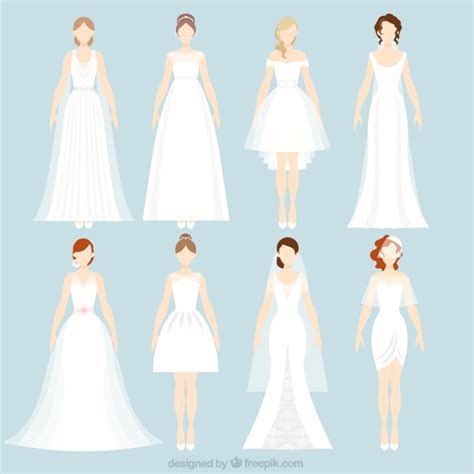 Wedding Dress Vector by 8 Different Wedding Dresses Vector Free