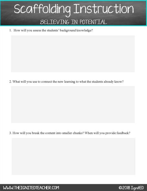 scaffolding lesson plan template scaffolding planning template ignited