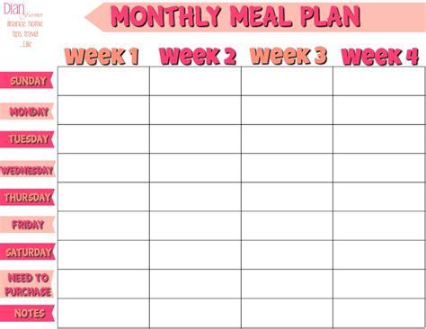 monthly menu planning template oyle kalakaari co