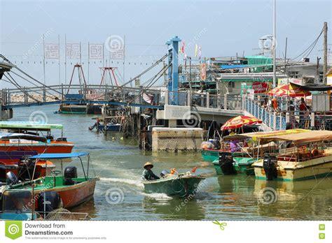 big boat fishing hong kong small houses and boats in tai o fishing village editorial