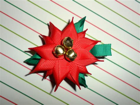 how to make christmas ribbon sculpture poinsettia ribbon sculpture hair clip bow diy free tutorial by