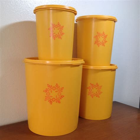 Tupperware Canister Gold Kerupuk vintage tupperware canisters set of 4 gold yellow orange