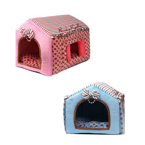 cloth dog house paris dog indoor polka dots dog house polyester thread fabric for pet ebay