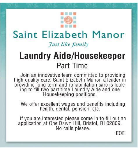 details laundry aide housekeeper at elizabeth manor