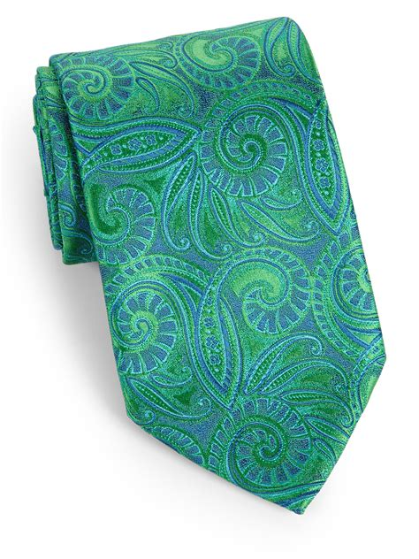 charvet paisley silk tie in green for lyst