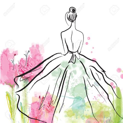fashion illustration with background wedding dress clipart fashion pencil and in color wedding dress clipart fashion