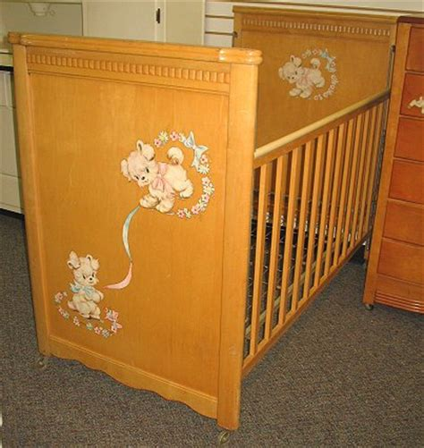 Vintage Baby Crib by 53 1950s Vintage Baby Wooden Crib W Decals Lot 53