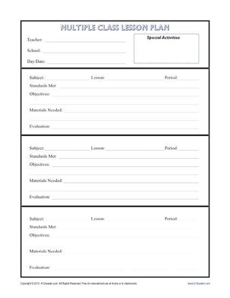 Class Lesson Plan Template daily multi class lesson plan template secondary