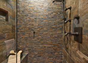 Northwest Stone Mosiac Shower Bathroom rustic bathroom