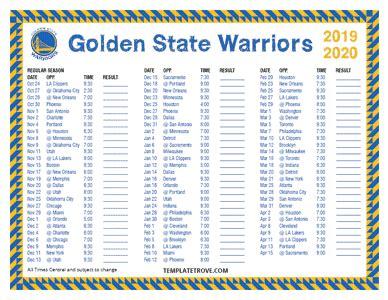 printable   golden state warriors schedule
