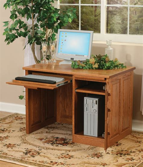 Amish Flat Top Computer Desk With Raised Panel Back 42 Quot 42 Computer Desk