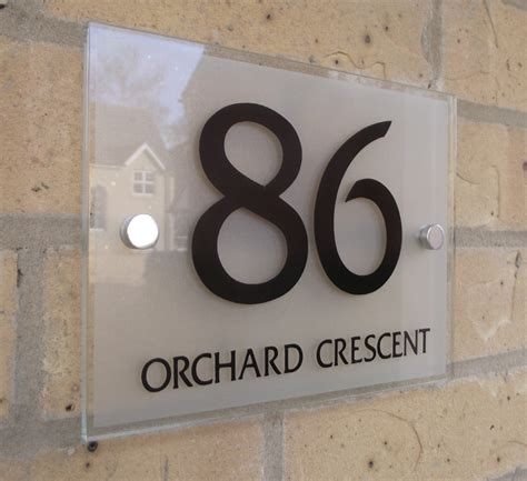 Glass Door Numbers Plaques House Number Sign Plaque Modern Frosted Glass Effect Ebay