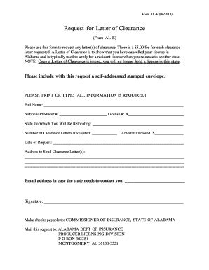 Request Letter Dar Clearance How To Get A Clearance Letter From Alabama Fill
