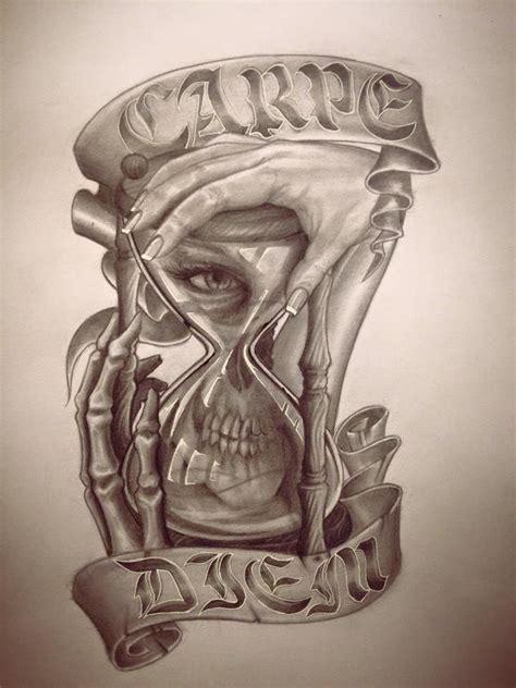 gangster skull tattoos hourglass with skull gangster skulls