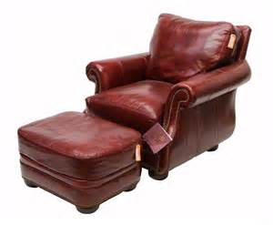 312 burgundy leather club chair amp ottoman lot 312