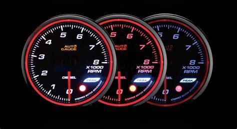 autogauge mm diesel tachometer rpm gauge warning peak