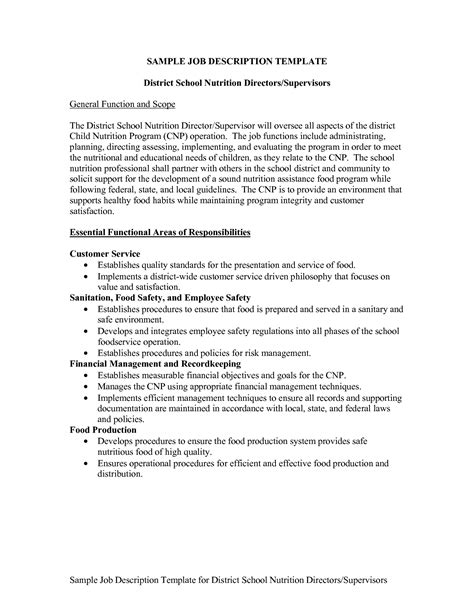 job description template microsoft word templates