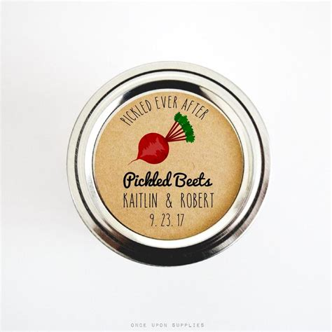 pickled beets stickers  wedding favors  rustic
