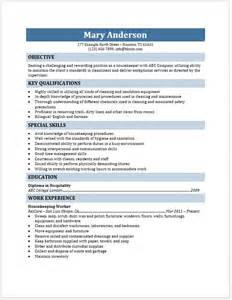 housekeeper resume free layout format