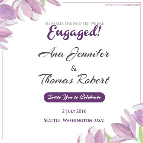 design engagement invitation card online free write couple name on floral engagement invitation card