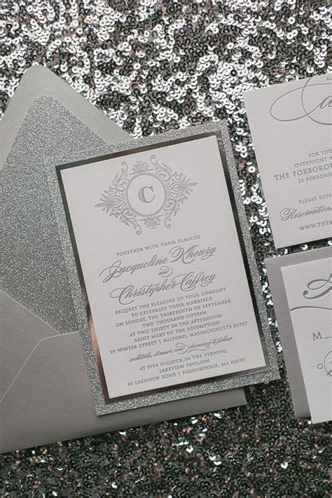 Silver Wedding Invitations by Abigail Suite Styled Fancy Glitter Package Wedding