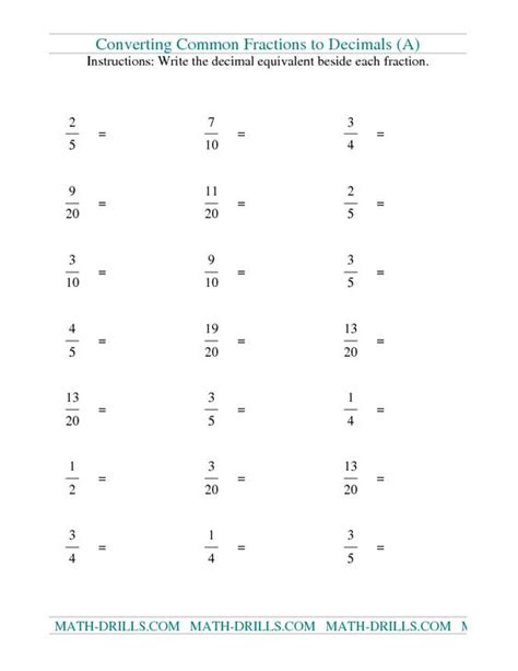 Worksheet On Converting Fractions To Decimals by Fraction To Decimal Conversion Worksheet Worksheets
