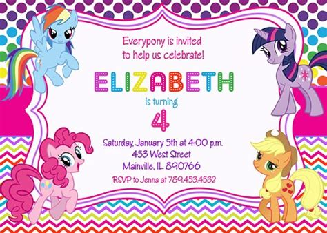 printable birthday invitations my little pony my little pony birthday party invitation digital