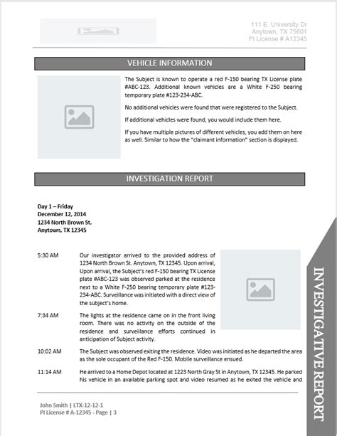 investigator surveillance report template investigator report templates free business template