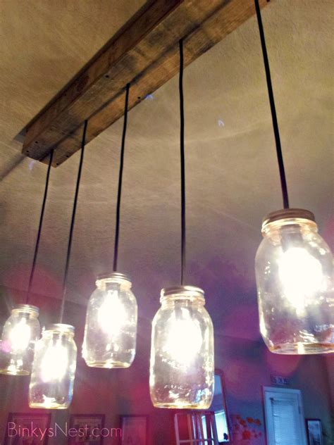 Glass Jar Light Fixture Jar Rustic Pallet Light Fixture And I Decided To Do This But With The