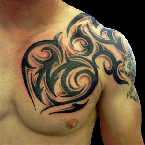 tribal tattoo on chest and shoulder 20 modern tribal tattoos designs ideas designslayer