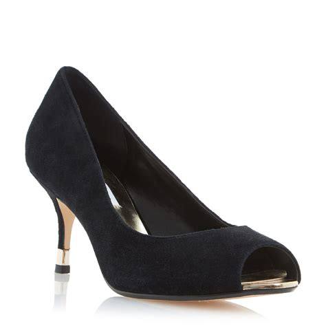 Dunes Perfume Peep Toe Heel by Dune Peep Toe Kitten Heel Court Shoes In Black Lyst