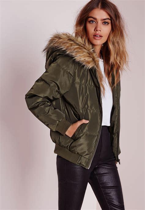 Lyst   Missguided Padded Faux Fur Hood Jacket Khaki in Green